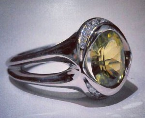 Chrysoberyl with Diamonds in Palladium Ring
