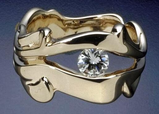 Floating Diamond Eye Ring