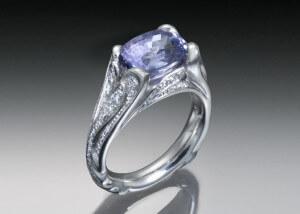 Purple Sapphire & Diamond Palladium Ring
