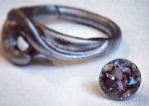 Palladium bypass casting with purple grey sapphire