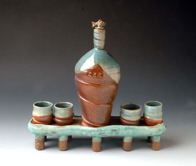 Tom White Pottery Bottle and Cups
