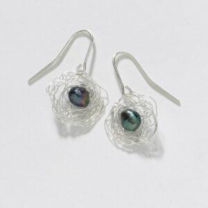 Sterling/Grey Nest Earring