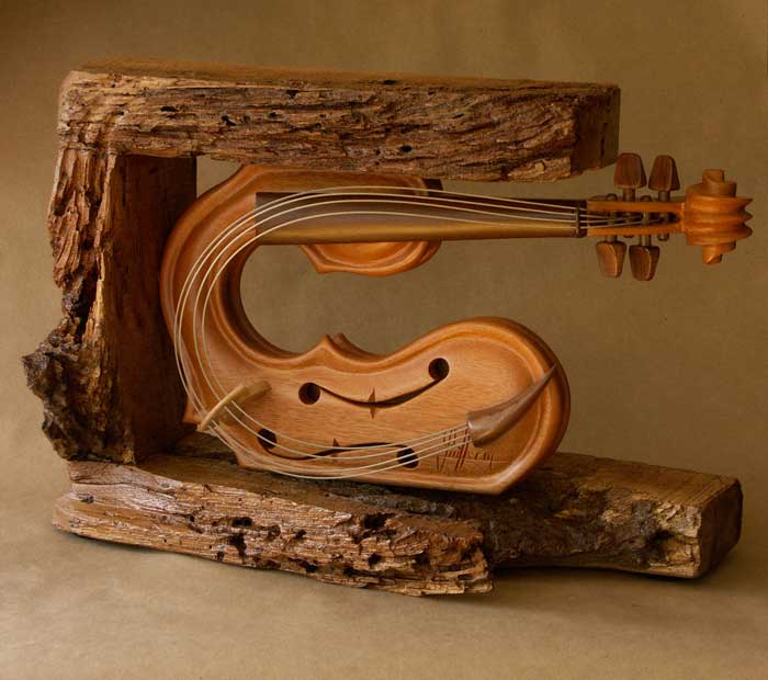 Element Of Wood Violin Sculpture Philippe Guillerm