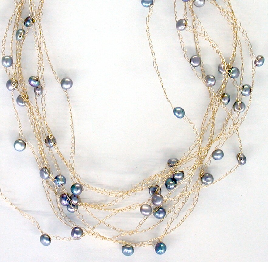 Cloud necklace with grey pearls