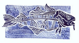 Codbridge wood block print