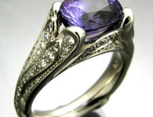 Purple Sapphire Palladium Ring