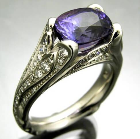 sapphire diamond palladium ring