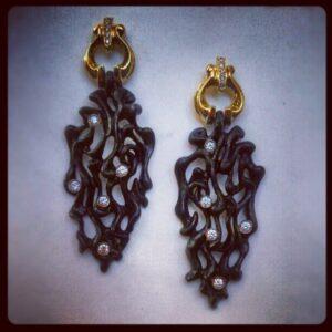 steel diamond earrings