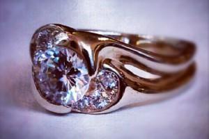 Diamond Engagement Ring with Diamond Crescents