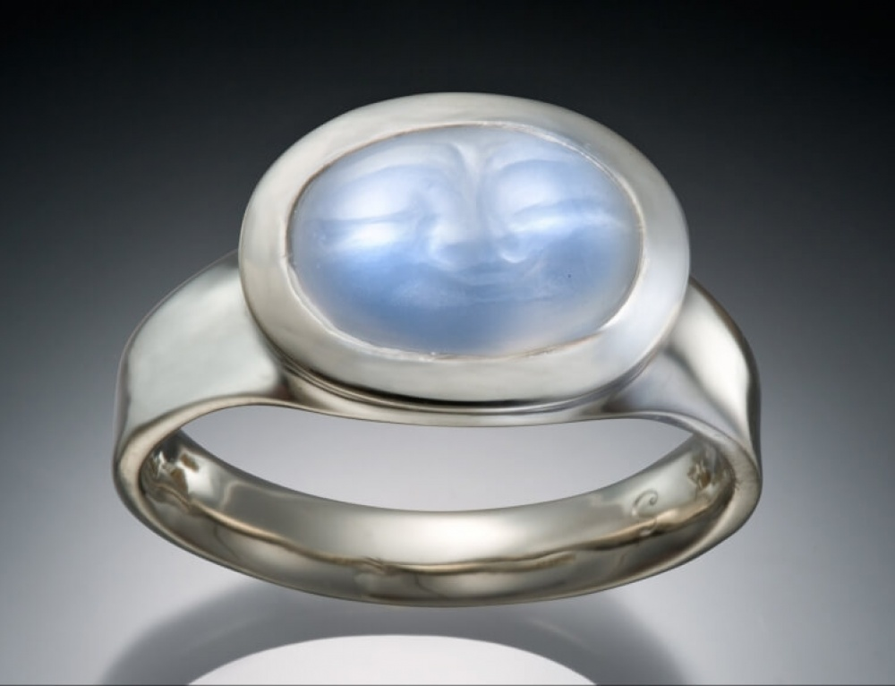 Carved Moonstone Wide Face Ring