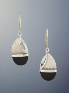 Patrick Murphy Onyx Silver Sailboat Earrings