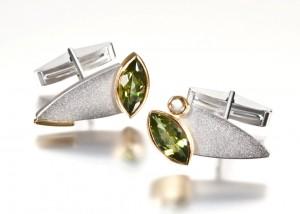 Sterling silver, 18k, peridot & tourmaline cufflinks