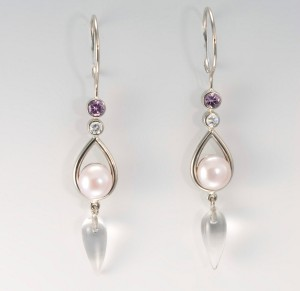 18k palladium white gold, diamond, pink sapphire, crystal, pearl earrings