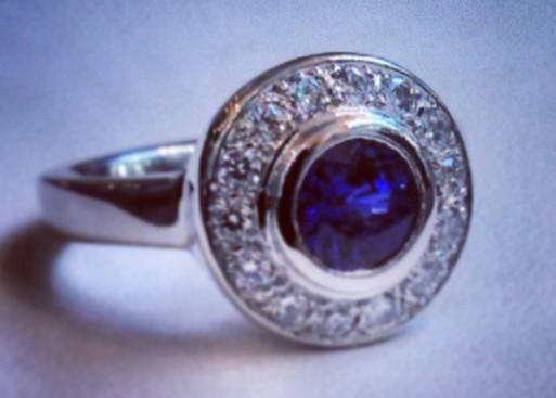 Sapphire diamond halo ring