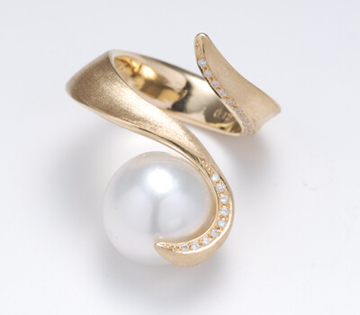 ArtBijou vermeil south sea pearl diamond ring