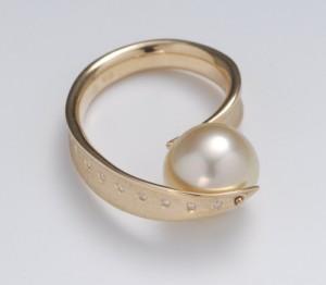 artbijou pearl diamond vermeil ring