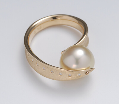 artbijou pearl diamond vermeil ring