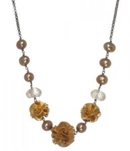 Chihiro Makio Gold 3 Bead Flora Necklace