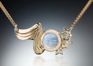 Celestial Carved Moonstone Pendant