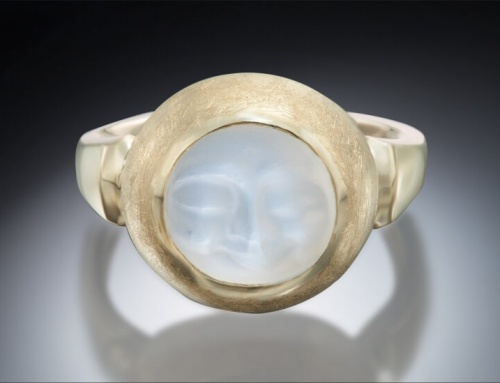 Carved Moonstone Wide Bezel Ring