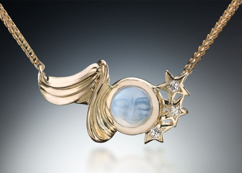 Celestial Carved Moonstone Pendant
