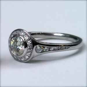 Moissanite Palladium Halo Engagement Ring
