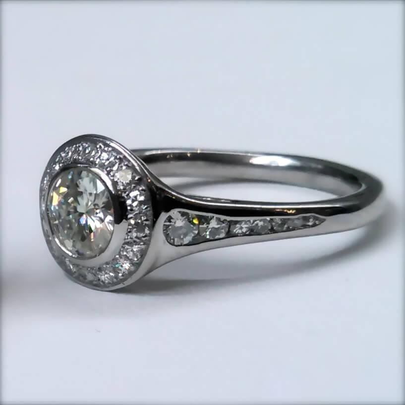 moissanite bezel halo ring skylight jewelers boston