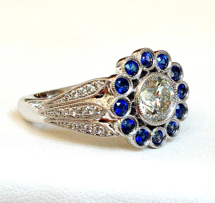Sapphire and Diamond halo ring flower design