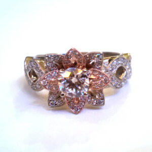 Rose and white gold petal designed engagement ring