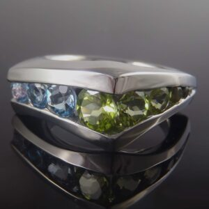 Peridot and Aqua Channel Ring