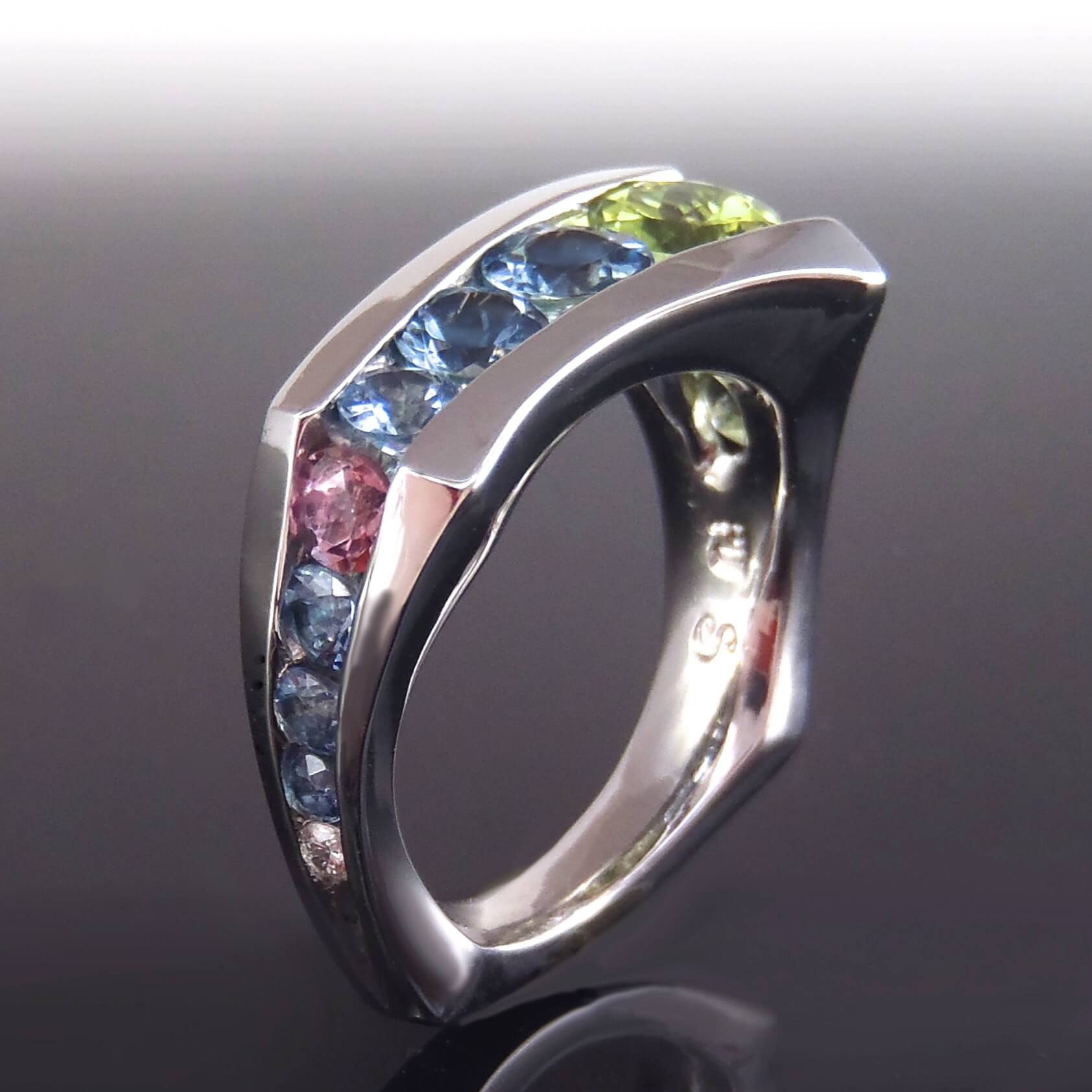 Multi Stone Floating Ring