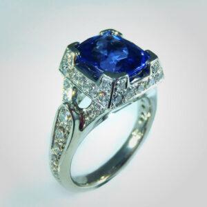 Tanzanite, palladium & diamond ring