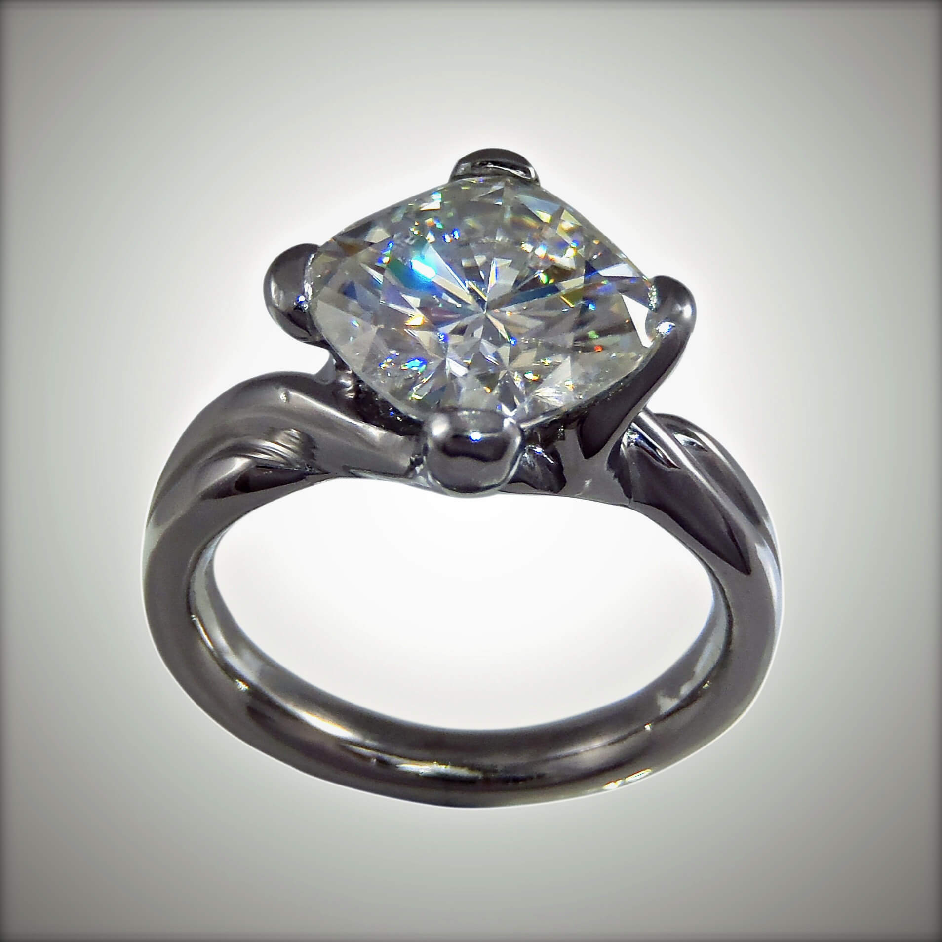 Moissanite & Palladium Ring