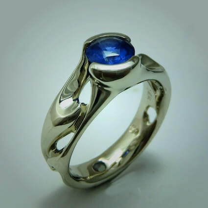Blue Sapphire Wave Ring