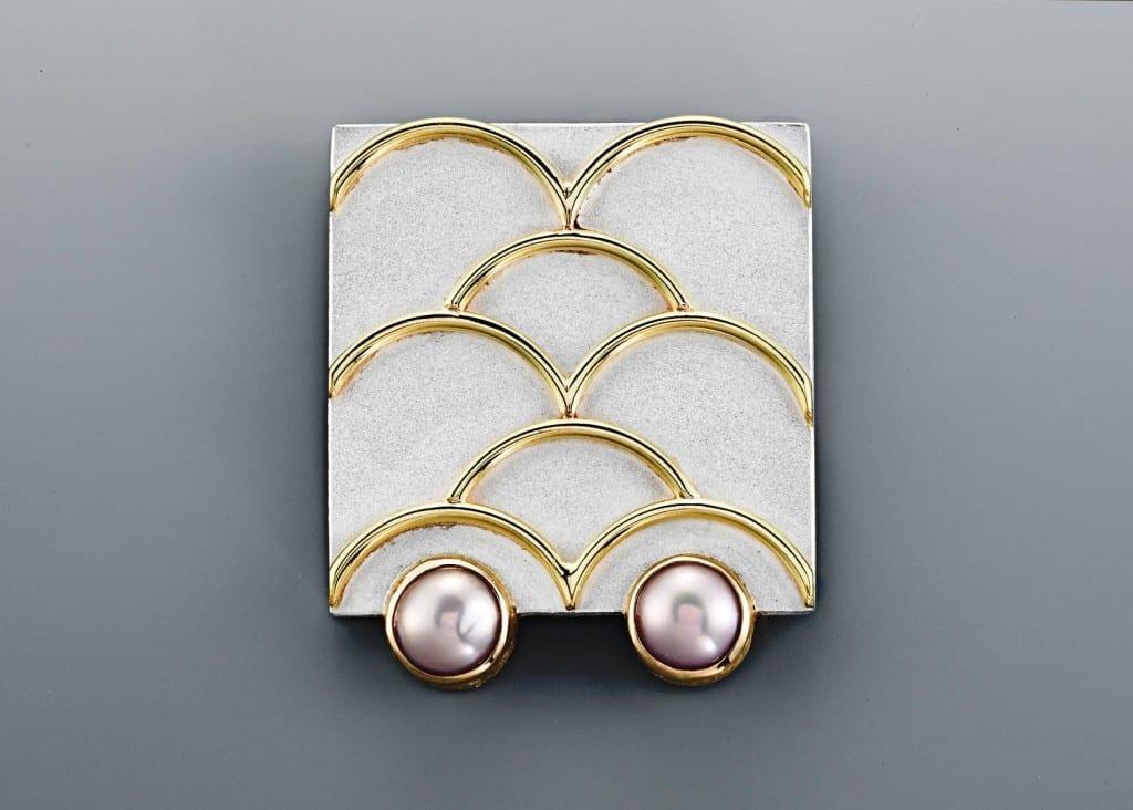 Sterling, 18k, freshwater pearl brooch / pendant by Janis Kerman