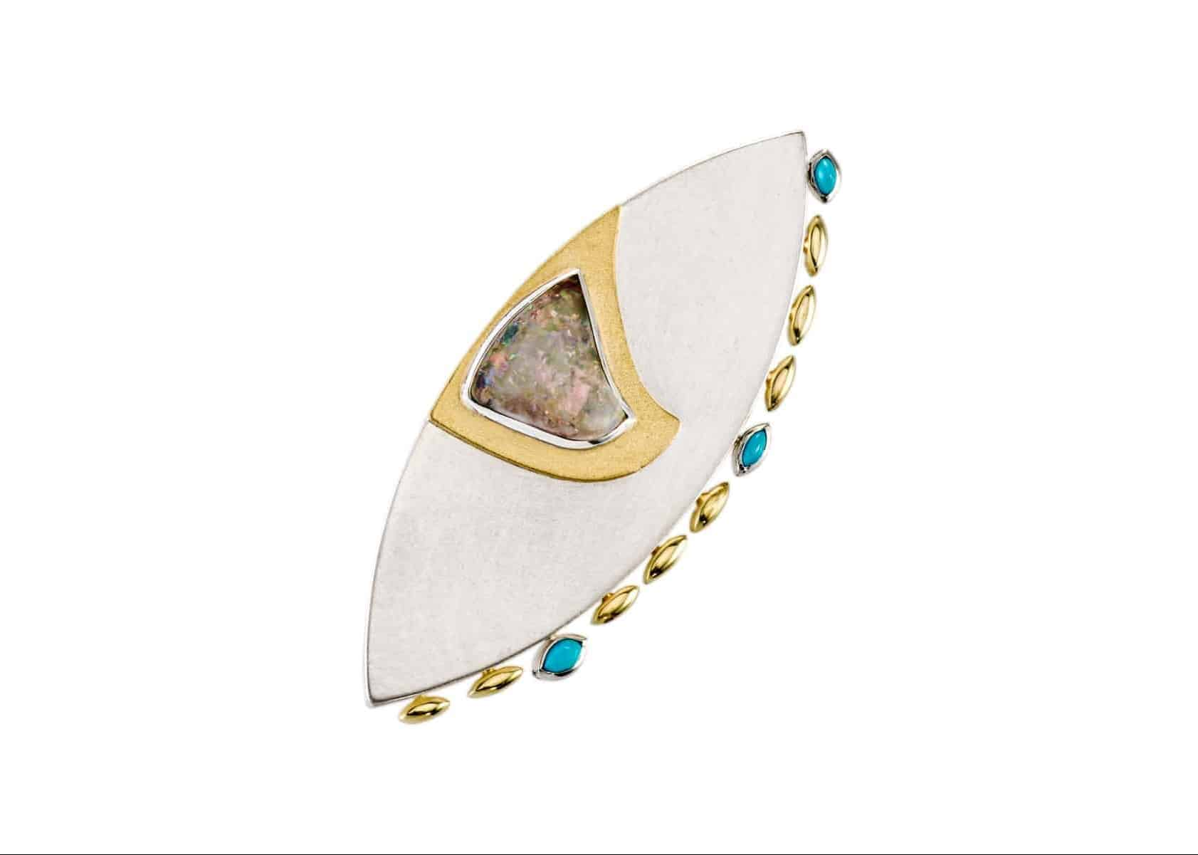 Sterling silver, 18k, opal and turquoise brooch / pendant by Janis Kerman