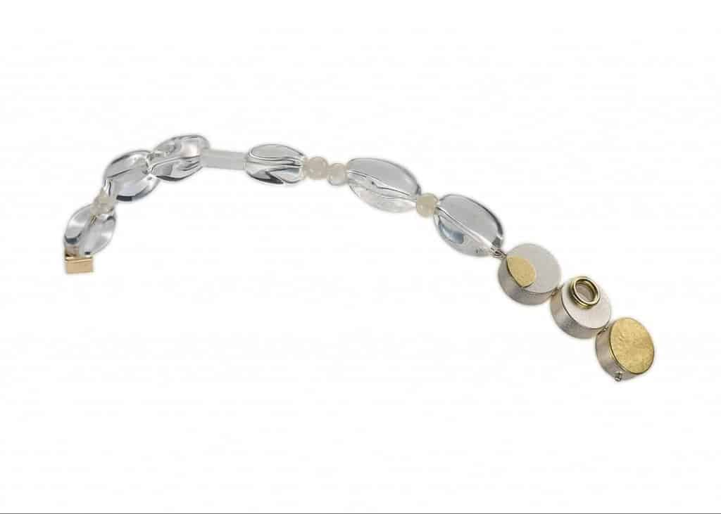 Sterling silver, 18k, clear and frosted crystal, white moonstone bracelet