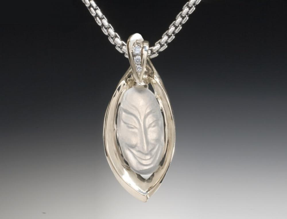 Carved Moonstone Cirque Leaf Pendant