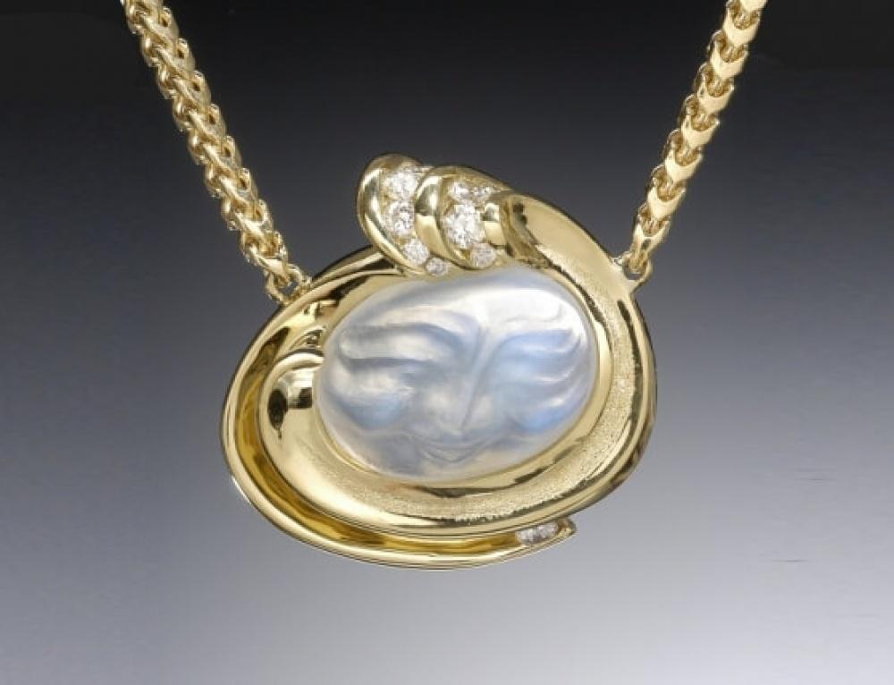 Carved Moonstone Diamond Crest Necklace