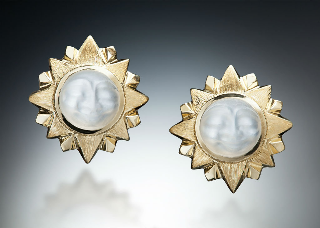 18K Gold Carved Moonstone Sun Earrings