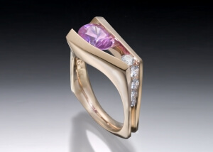 Pink Sapphire Floating Ring in Rose Gold with Diamonds