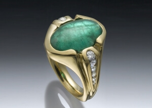 Emerald Cabochon Diamond Ring