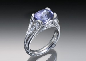 Purple sapphire & diamond encrusted ring