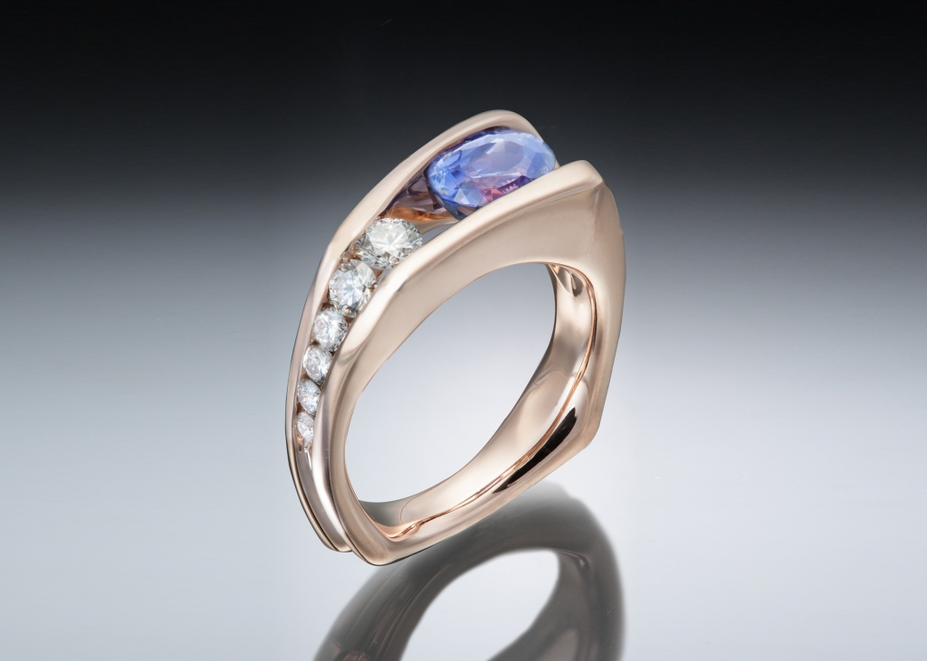 Purple sapphire and rose gold floating ring