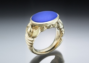 Lapis Oval Ring in Carved 18k setting