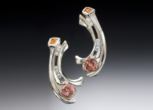 Zircon, garnet & diamond earrings