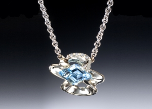 Aquamarine Diamond & White Gold Necklace