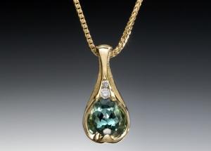 Tourmaline Diamond Pendant