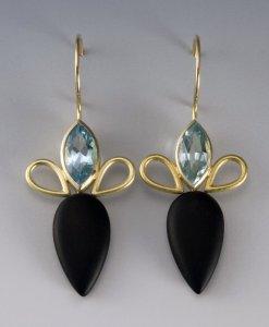 Janis Kerman Earrings with Blue Topaz, Onyx and 18k