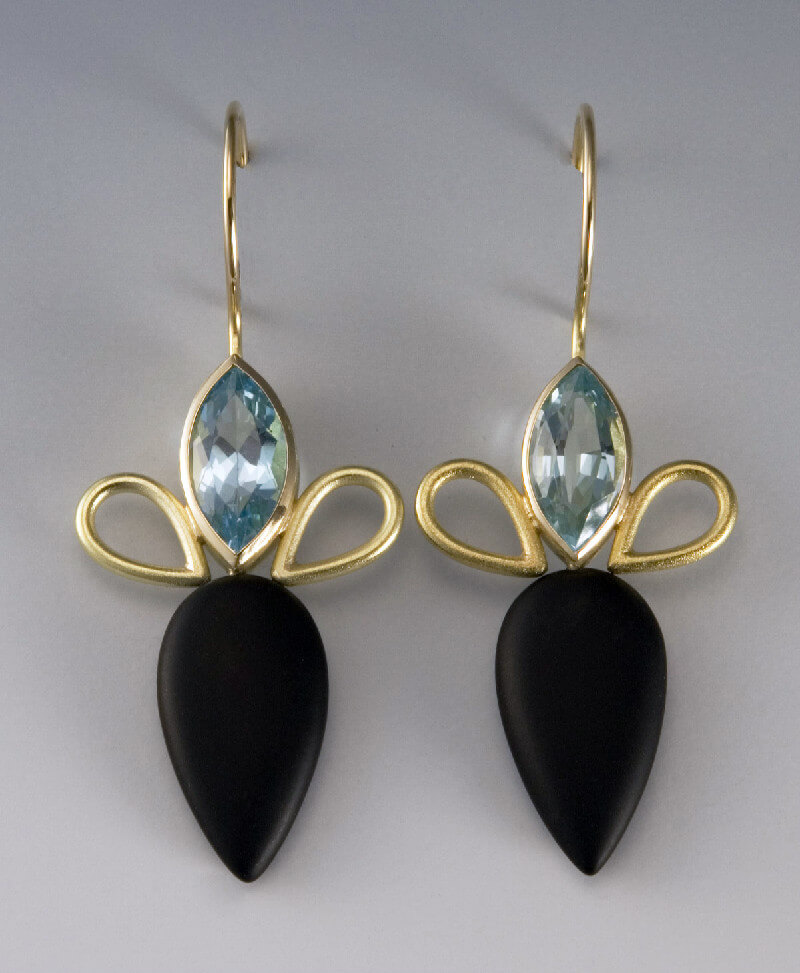 Janis Kerman Earrings with Blue Topaz, Onyx and 18k